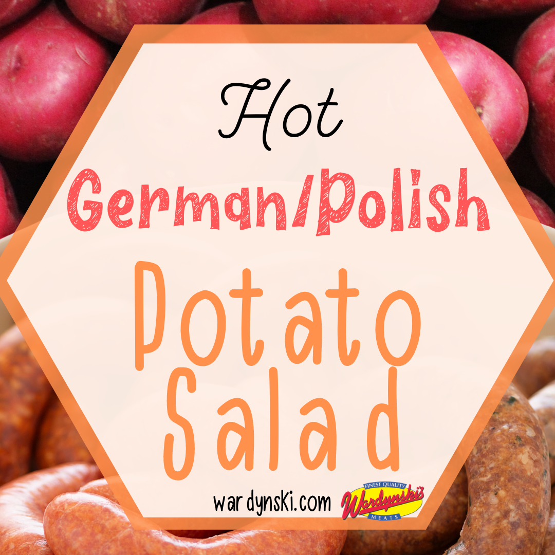 This hot potato salad recipe is a great addition to your menu! #potatosalad #germanpotatosalad #polishpotatosalad #polishsausagerecipes