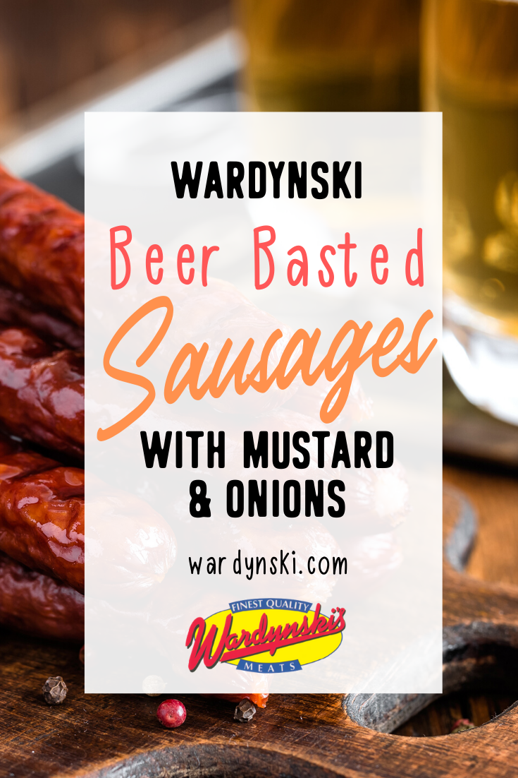 Cook up some beer basted Polish sausages with hot mustard onions! #polishsausage #bratwurst #bbqrecipes