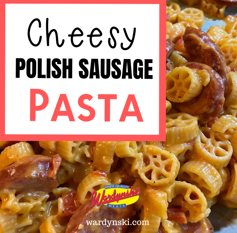 This recipe for Cheesy Polish Sausage Pasta is delicious, and an easy dinner recipe! #dinnerrecipe #easyrecipe #polishsausagerecipe #polishsausage