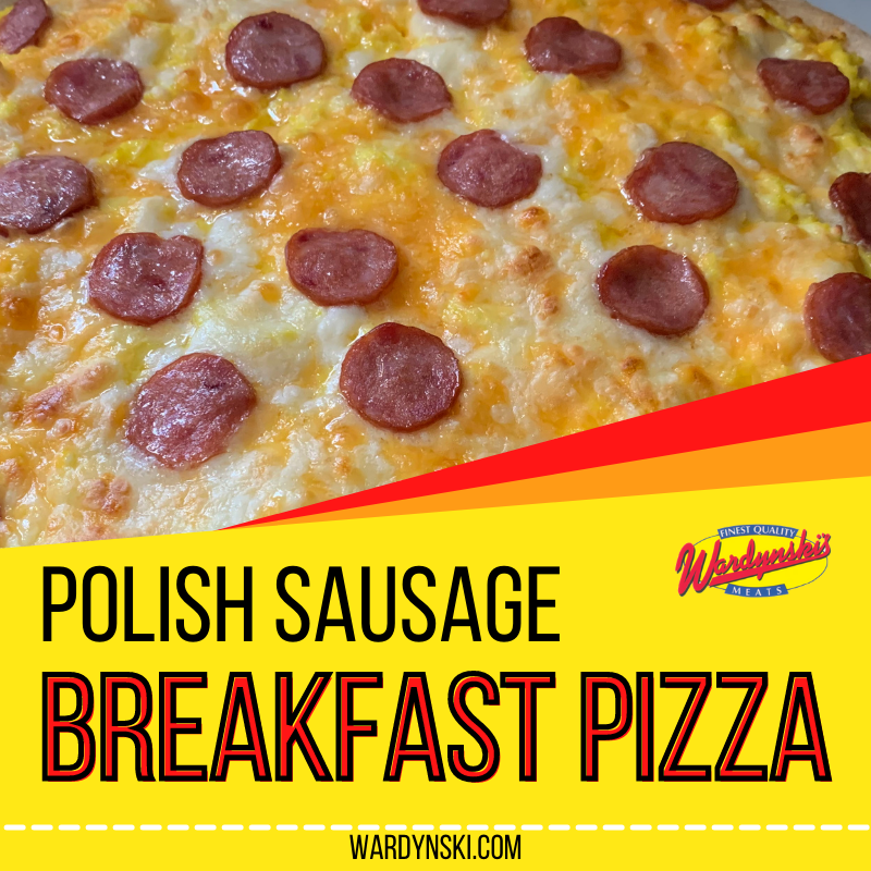 This breakfast pizza recipe uses Polish sausage, eggs and cheese to make an easy breakfast. Try out Polish Breakfast Pizza for your next brunch!